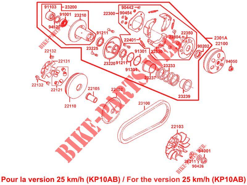 Variateur dembrayage primaire de rechange pour scooter 50 cc Kymco Agility People Like 4T 4 Stroke
